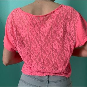 PINK — neon pink lace back shirt, tie in the front